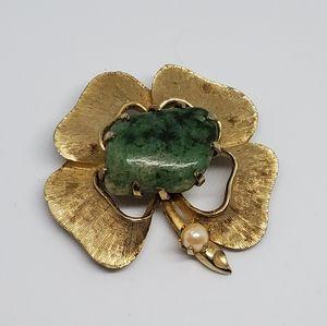 Jade Faux Pearl Gold Tone Shamrock Brooch